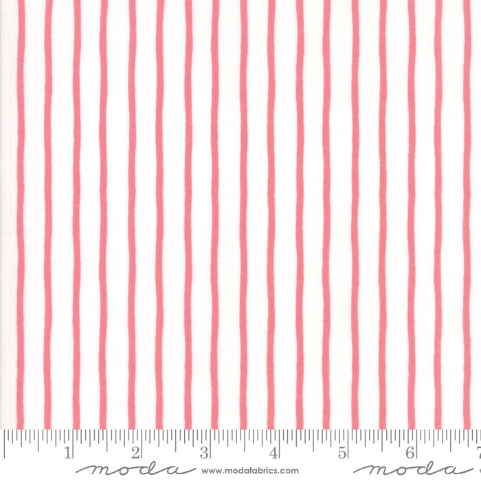Moda Lollipop Garden by Lella Boutique - Handmade Stripe Fabric, Raspberry