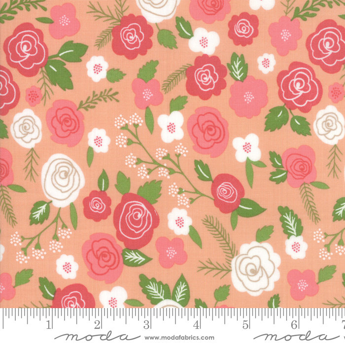 Moda Lollipop Garden by Lella Boutique - Springtime Blooms Fabric, Tangerine