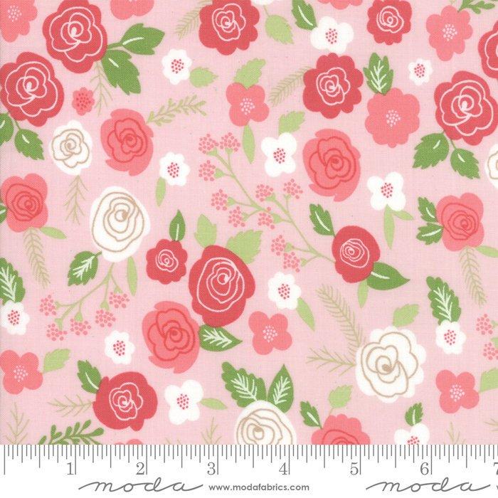 Moda Lollipop Garden by Lella Boutique - Springtime Blooms Fabric, Pinkberry