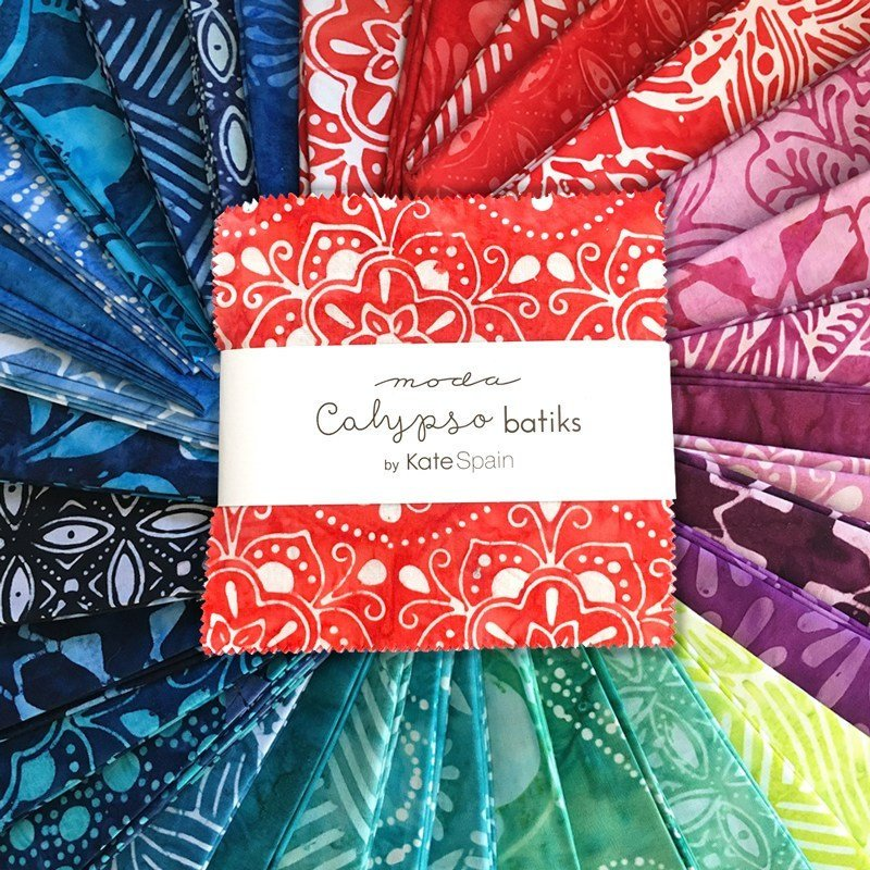 Moda Calypso Batiks by Kate Spain - Ovals, Azalea / Red