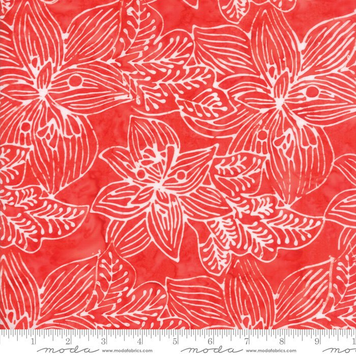 Moda Calypso Batiks by Kate Spain - Tropical Flowers, Azalea / Red