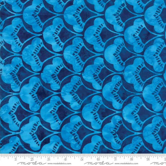 Moda Calypso Batiks by Kate Spain - Leaves, Lagoon / Dark Blue