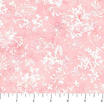 Northcott Blossoming Beauties by Teri Farrell-Gittins - Small White Flowers on Pink