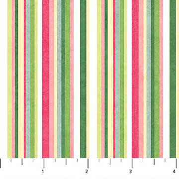 Northcott Blossoming Beauties by Teri Farrell-Gittins - Garden Stripe, Multicolor
