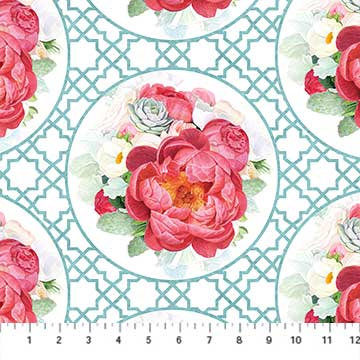 Northcott Blossoming Beauties by Teri Farrell-Gittins - Peony with Blue Lattice, Digitally Printed
