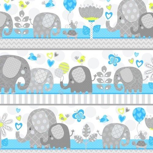 Studio E Hello Baby - Large Elephant Stripe Blue 2-Ply Flannel