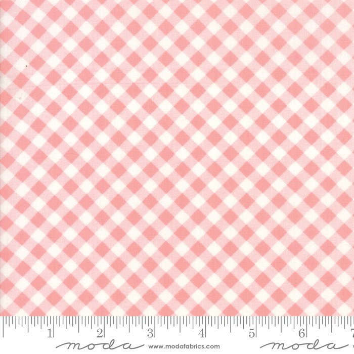 Moda Bonnie and Camille Little Snippets Floral Little Bias Gingham Coral Pink