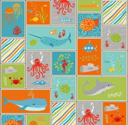 Henry Glass Big Splash -  Sea Creatures in Squares