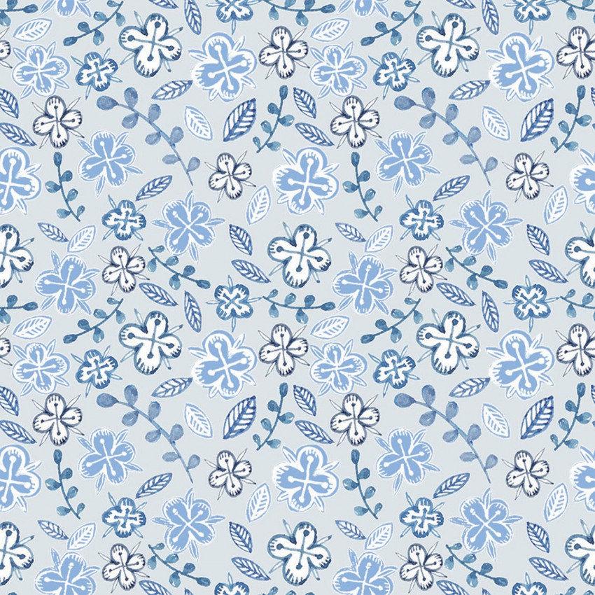 Farm Fresh - Tiny Flowers Blue - By 3 Wishes Fabric