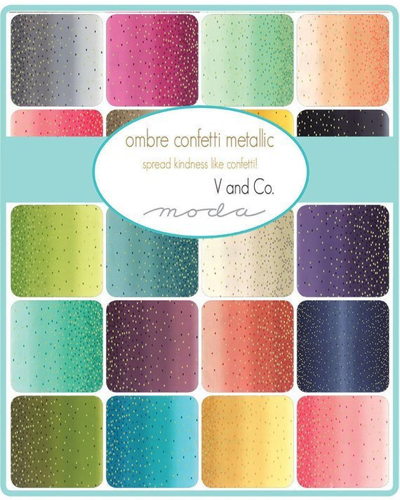 Moda Ombre Confetti Metallic Fat Quarter Bundle by V and Co. - Full Collection - 20 pieces