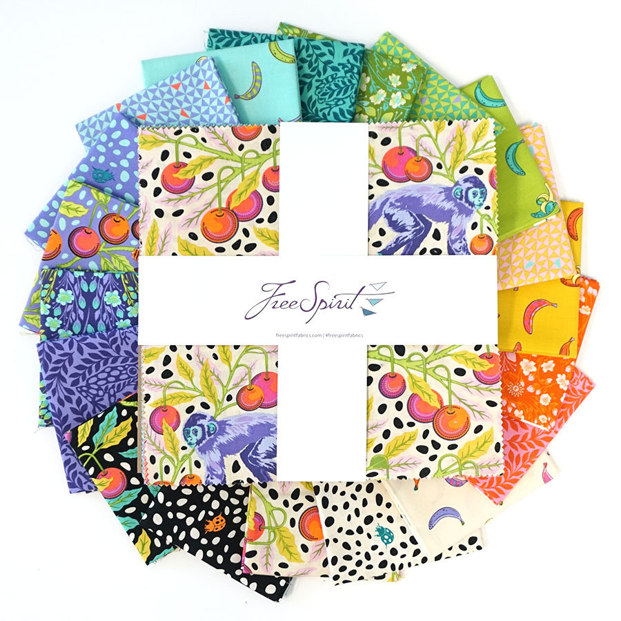 Monkey Wrench - Pre-Cut 10 Square Pack - Includes 42 10 Squares - by Tula Pink for Free Spirit Fabrics