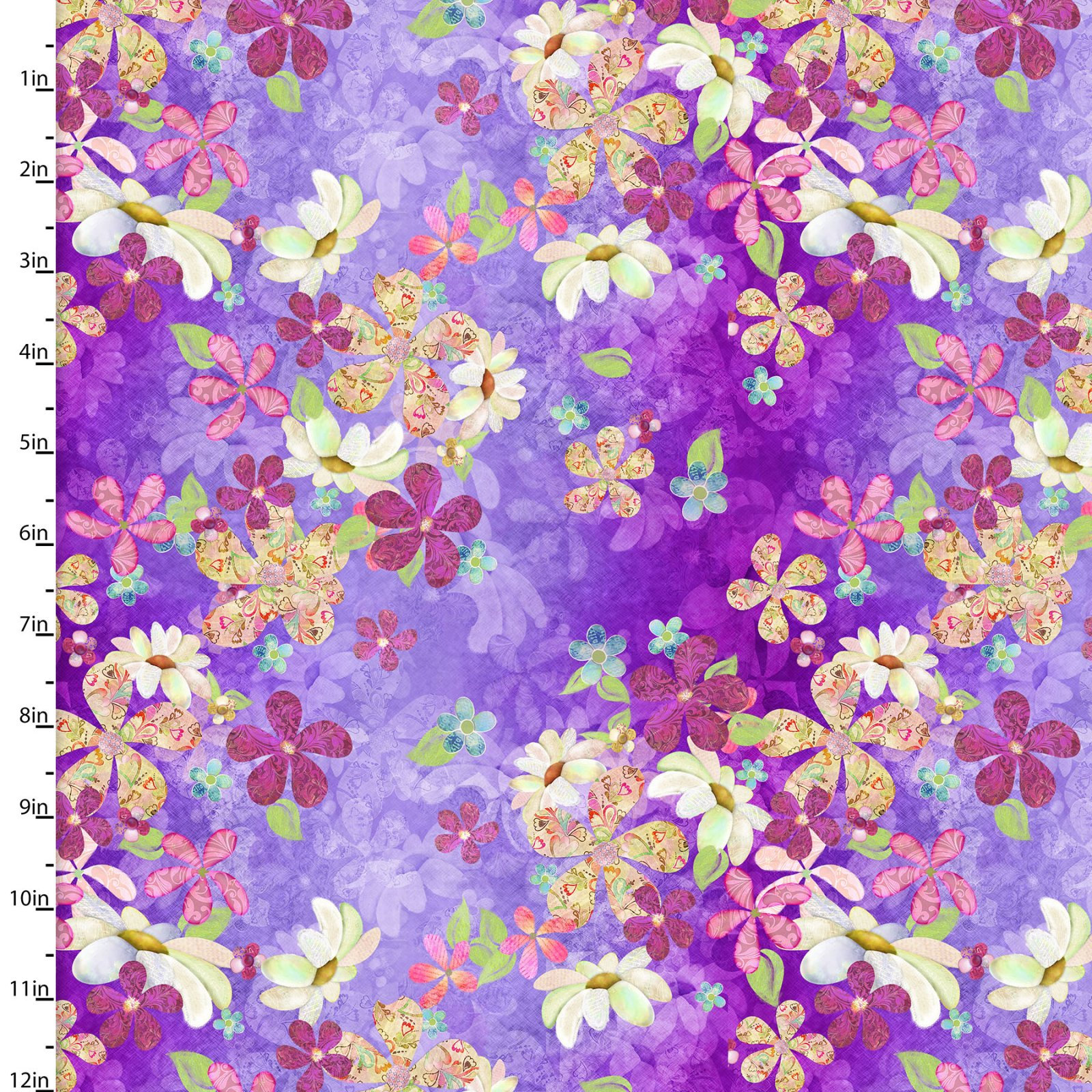 In the Meadow Floral Toss on Lavender Fabric 14488-MULTI - Digitally Printed - Sold by the Yard and Cut Continuous - Ships Today