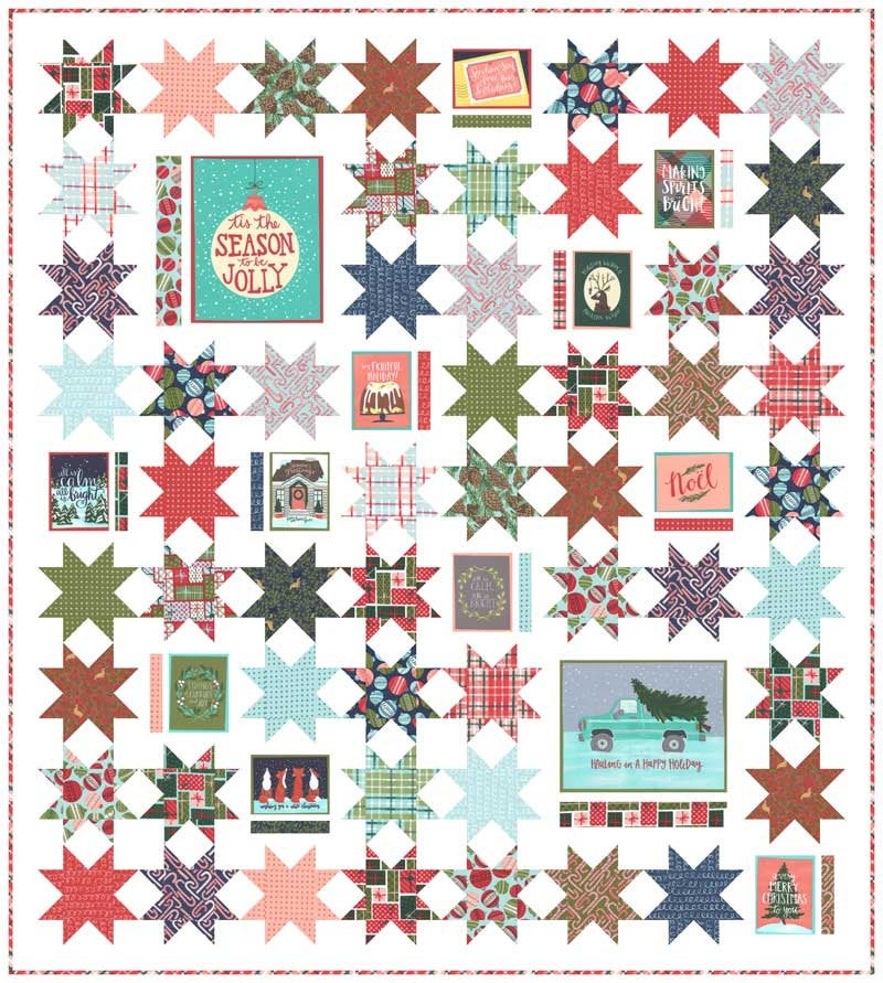 Moda To Be Jolly - Seasons Greetings QUILT KIT by One Canoe Two - Makes 68 x 76 Quilt - In Stock and Ships Today