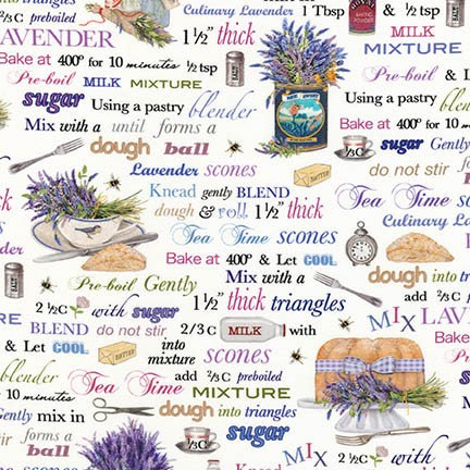Everyday Favorites Recipes Lavender by Mary Lake Thompson for Robert Kaufman - Sold by the Yard and Cut Continuous - Ships Today