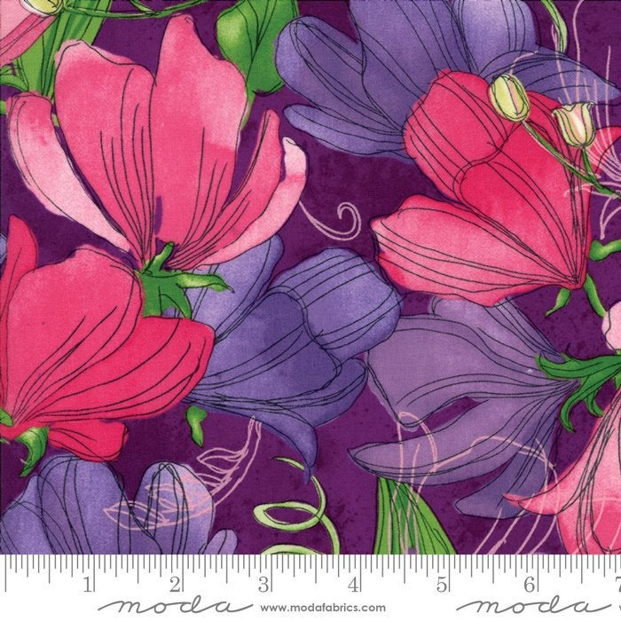 Moda Sweet Pea Lily - Robin Pickens Floral Sweet Peas Plum Purple - Sold by the Yard and Cut Continuous - In Stock and Ships Today