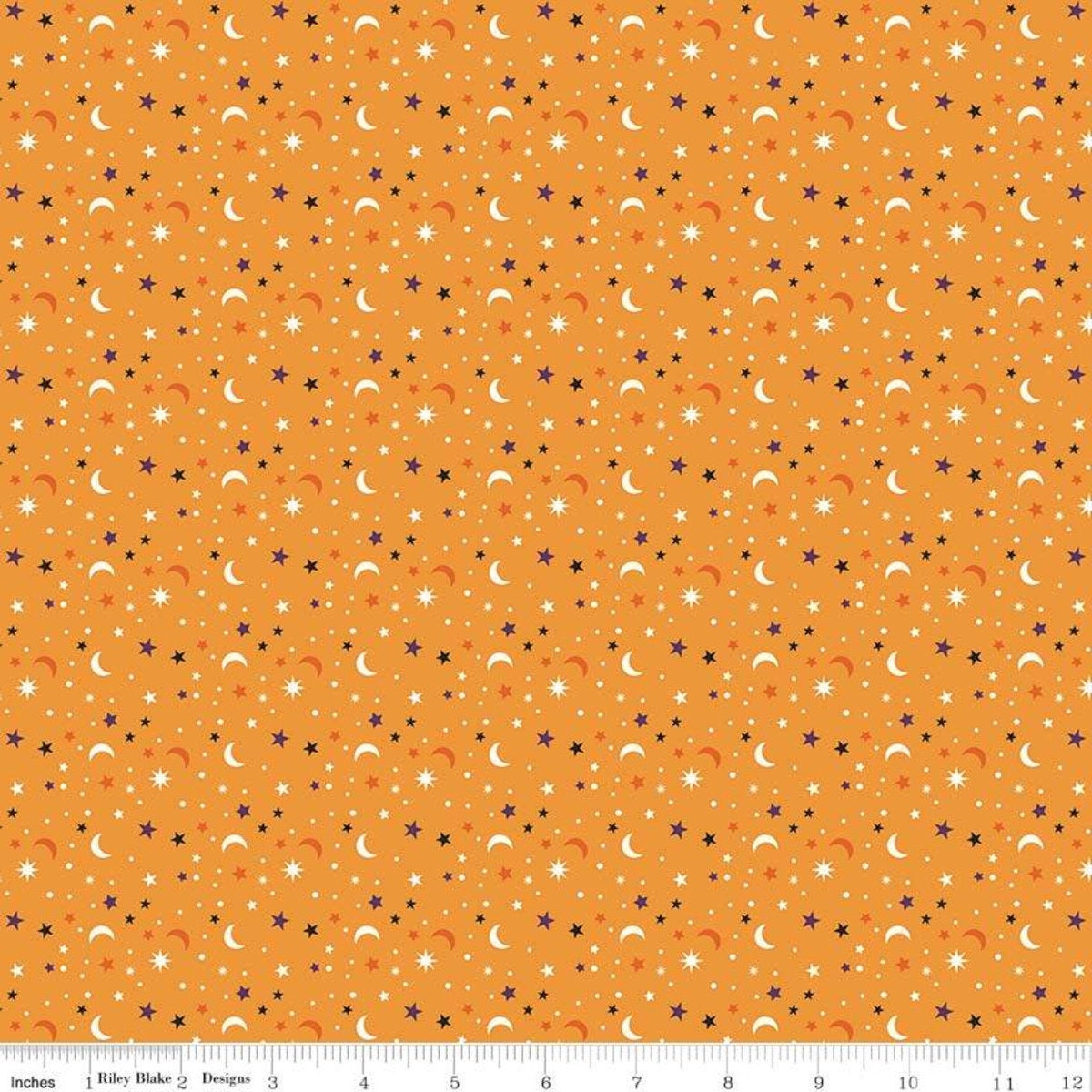 Fab-Boo-Lous for Riley Blake - Halloween Star Scatter Orange - Sold by the Yard and Cut Continuous - Ships Today