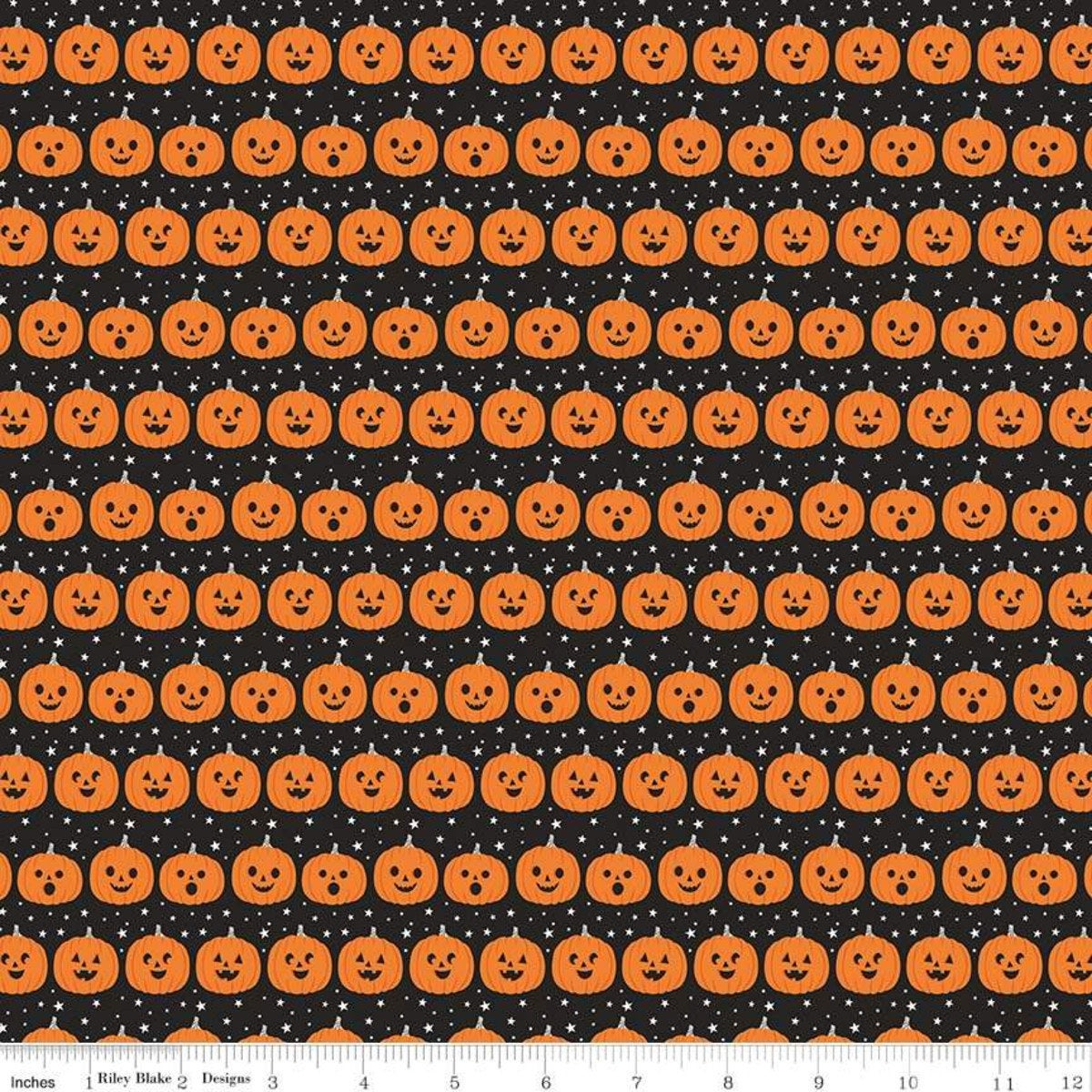 Fab-Boo-Lous for Riley Blake - Pumpkins Black - Sold by the Yard and Cut Continuous - Ships Today
