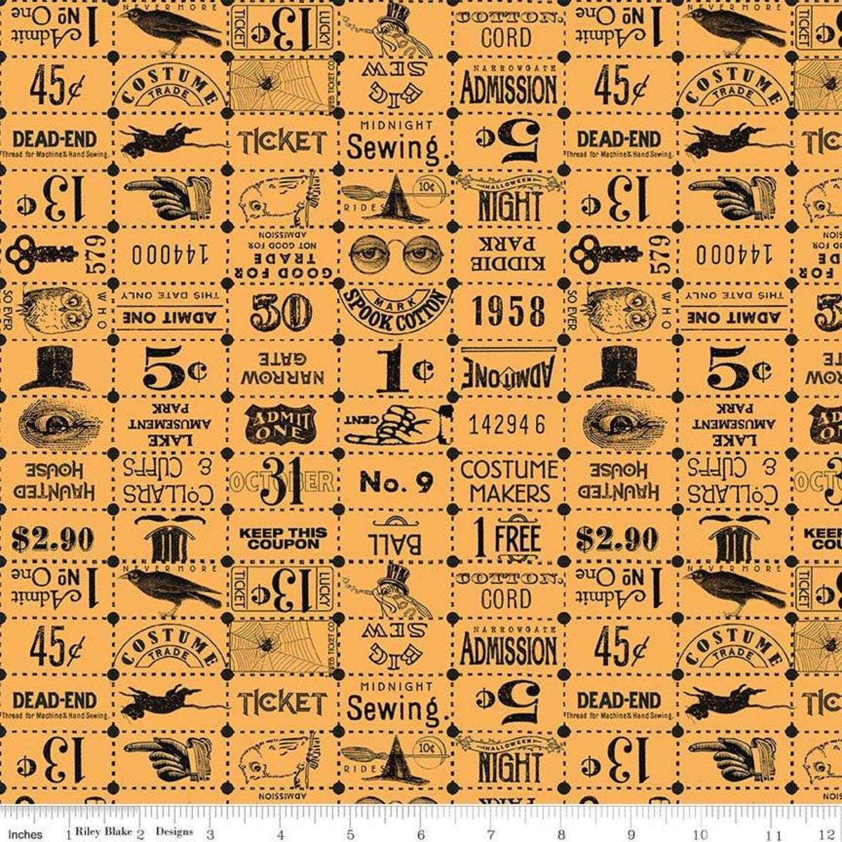 Costume Maker's Ball by J Wecker Frisch for Riley Blake - Ticket Grid Orange - Sold by the Yard and Cut Continuous - Ships Today