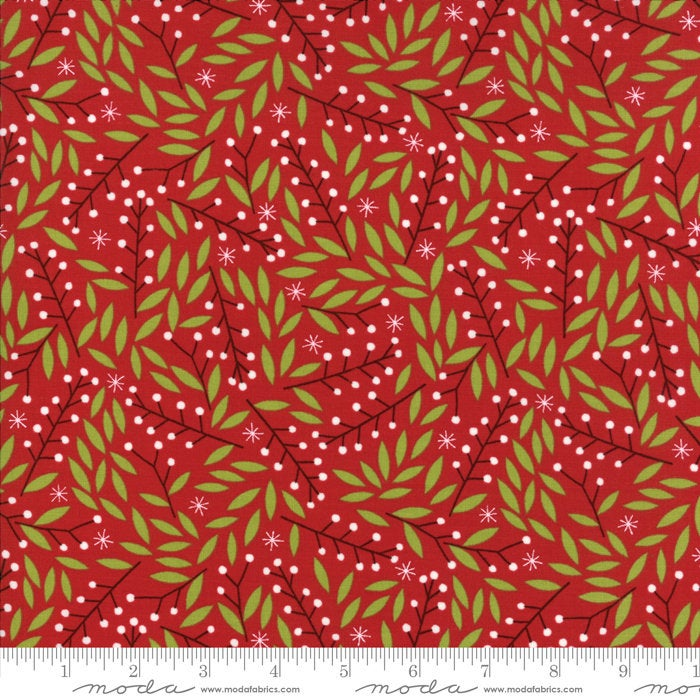 Moda Merriment by Gingiber - Christmas Hollies Berry Red - Sold by the Yard - In Stock and Ships Today
