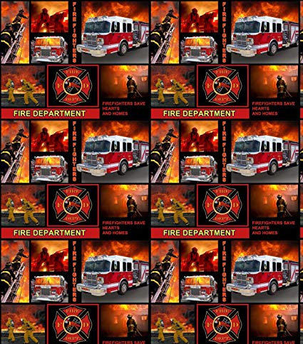 Fire Department Cotton Fabric by Skytel Enterprises