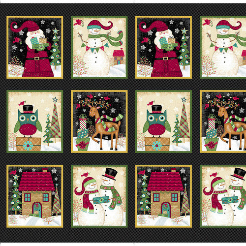 Studio E Holly Jolly Christmas by Sharla Fults, Holiday Blocks on Black, Sold by the Panel - Ships Today