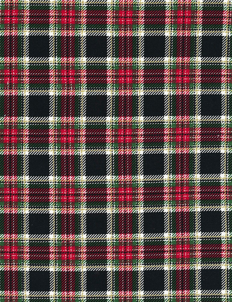 Timeless Treasures, Merry and Bright Modern Metallic Black Plaid - Plaid-CM7067 - Sold by the Yard and Cut Continuous - Ships Today