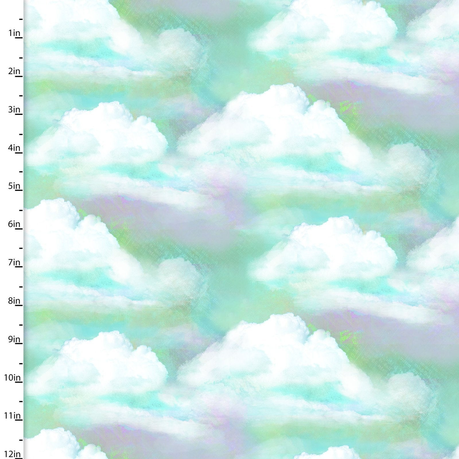 In the Meadow Clouds in the Sky Fabric 14495-TURQ - Digitally Printed - Sold by the Yard and Cut Continuous - Ships Today