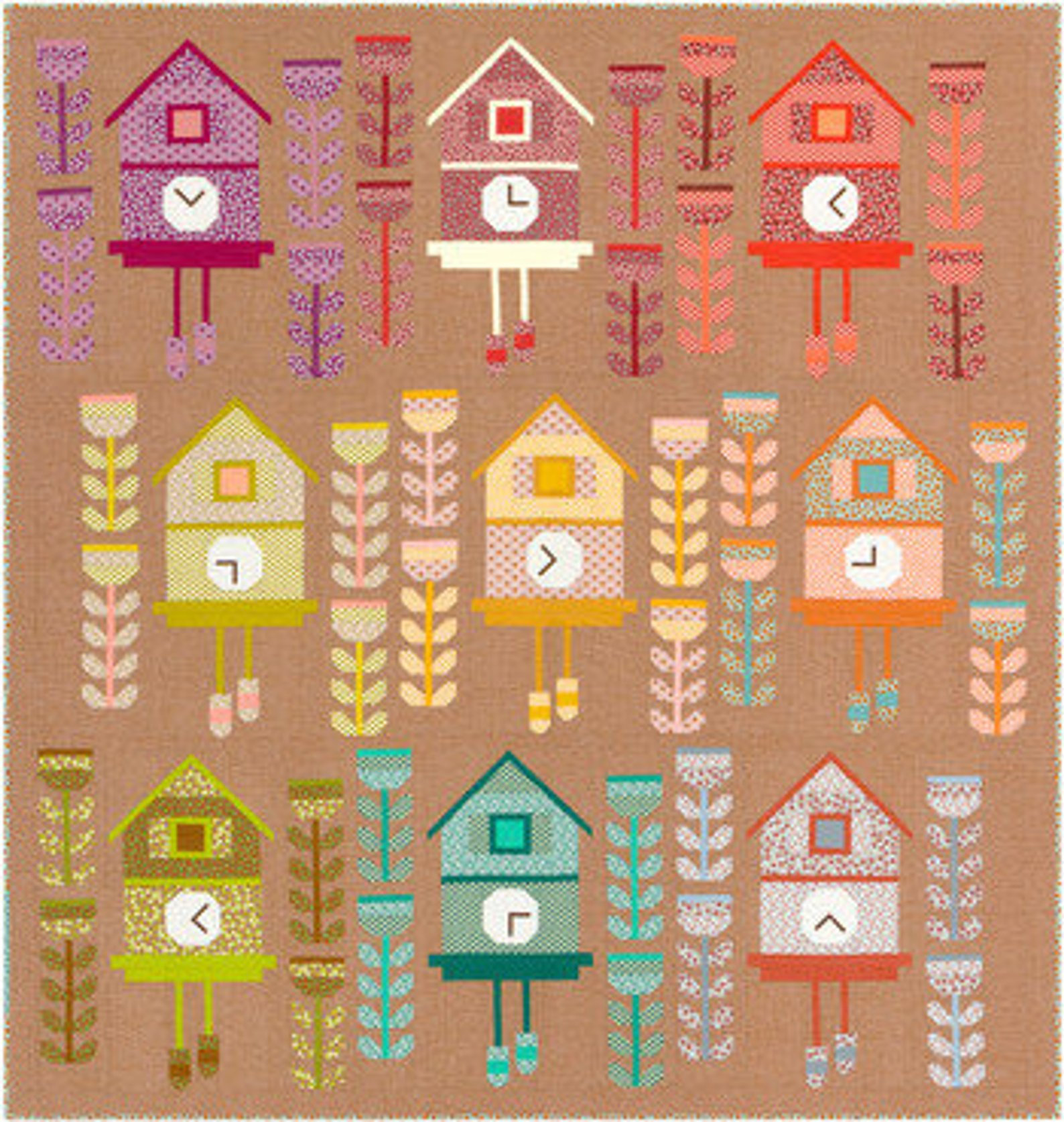 Robert Kaufman Cuckoo QUILT KIT Featuring Berry Season Fabric by Elizabeth Hartman - In stock and ships today!