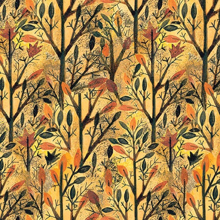 Blank Quilting Give Thanks II Fabric by Art by Bernie - Trees in Amber