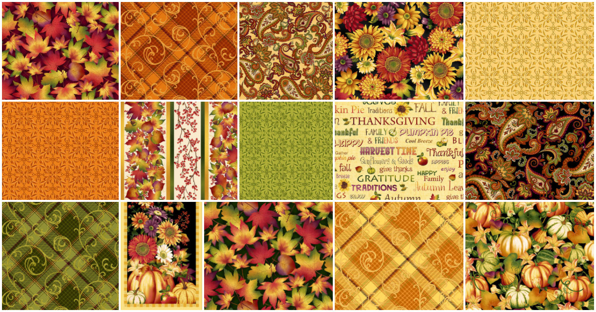 Henry Glass Autumn Time by Color Principles - Fat Quarter Bundle - Includes 14 fat quarters and 1 panel