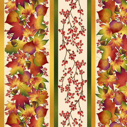 Henry Glass Autumn Time by Color Principles - 2320-33 Cream Stripe