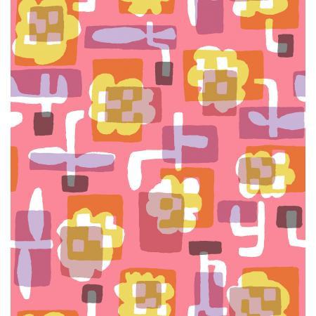 Cotton + Steel Safari by Masaru Suzuki - Flower Box, Coral