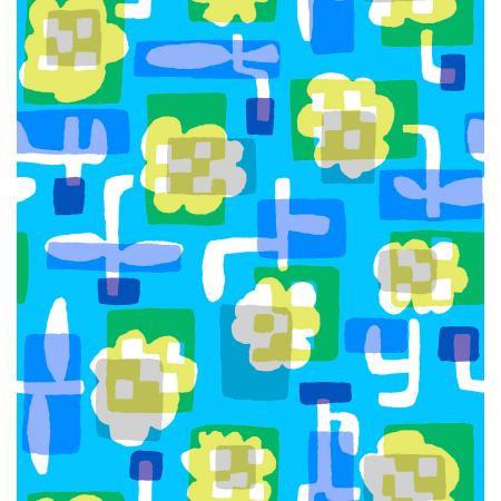 Cotton + Steel Safari by Masaru Suzuki - Flower Box, Blue
