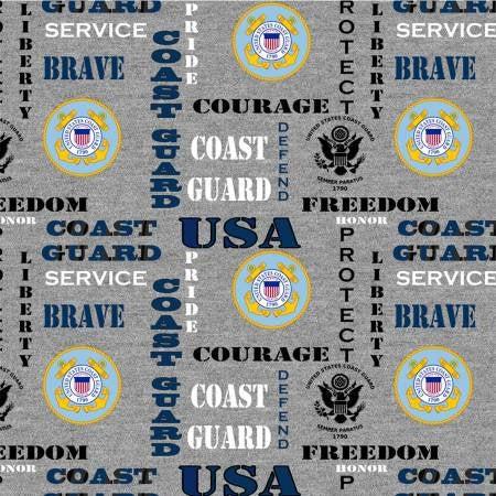 US Coast Guard Military Cotton Fabric by Skytel Enterprises