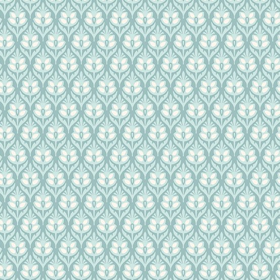 Willow - Tulip, Teal - by Andover Fabrics