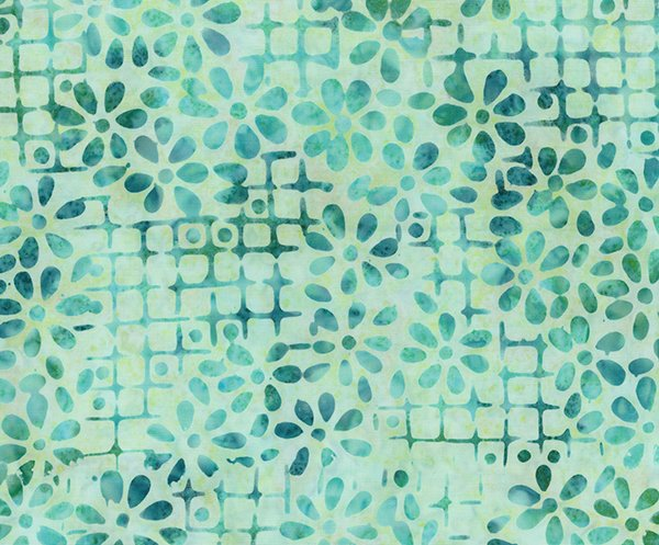 Watercolor Floral - Blue Floral Grid *Batik* - By Banyan Batiks For Northcott Fabrics