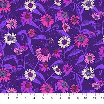 Flora - Dark Purple Echinacea - by Marisol Ortega from FIGO Fabrics - Sold by the Yard and Cut Continuous