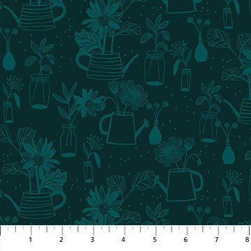 Flora - Dark Green Planters - by Marisol Ortega from FIGO Fabrics - Sold by the Yard and Cut Continuous