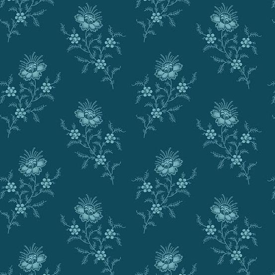 Royal Blue - Chrysanthemum , Deep Sea - by Edyta Sitar of Laundry Basket Quilts for Andover Fabrics