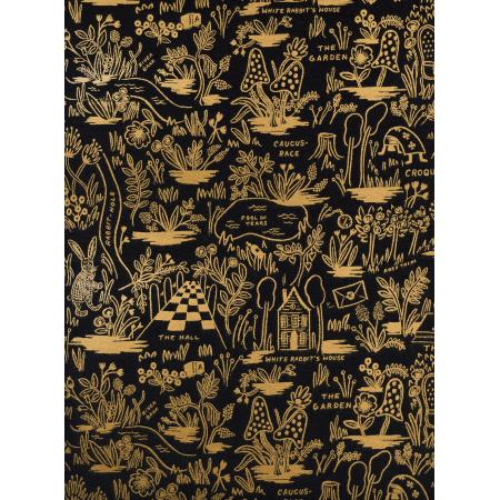 Wonderland - Black/Gold Magic Forest*Metallic Linen* - By Rifle Paper Co. For Cotton + Steel