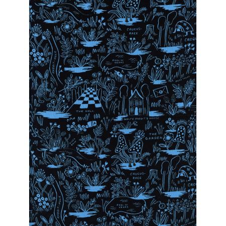 Wonderland - Black/Blue Magic Forest*Linen* - By Rifle Paper Co. For Cotton + Steel