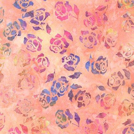 Rosette Artisan Batiks - Peach Roses AMD-18939-144 PEACH - by Lunn Studios Robert Kaufman Fabrics