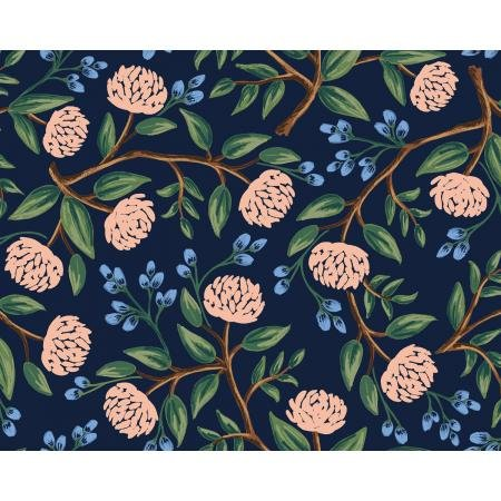 Wildwood - Peonies, Navy - by Rifle Paper Company for Cotton + Steel