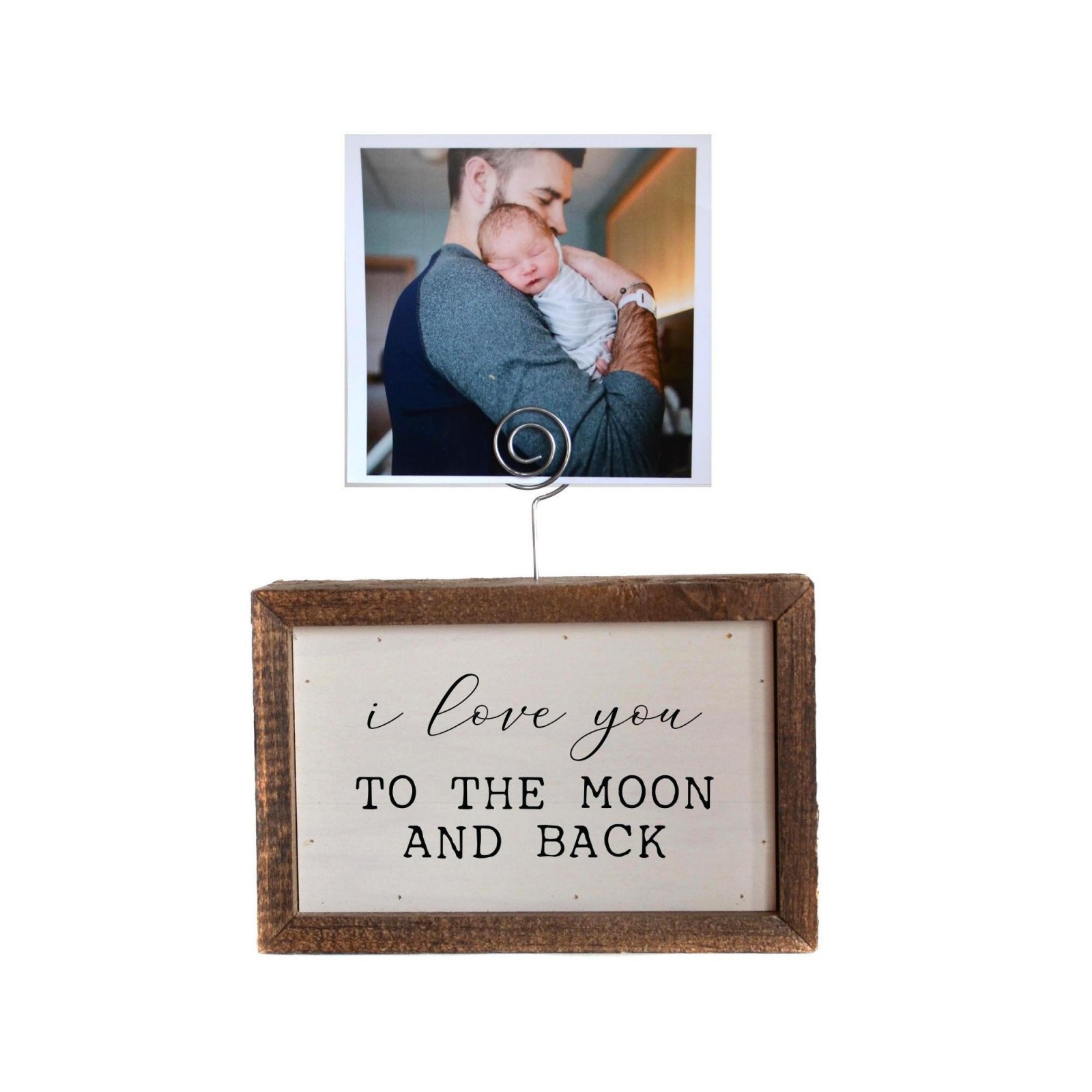 I Love You to the Moon and Back Picture Block with Wire Picture Holder - 6 x 4 x 2 - by Driftwood Studios