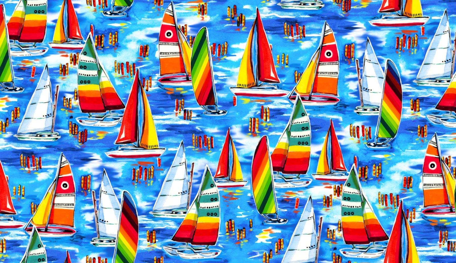 Beachy Keen - Sailboats - by Oasis Fabrics