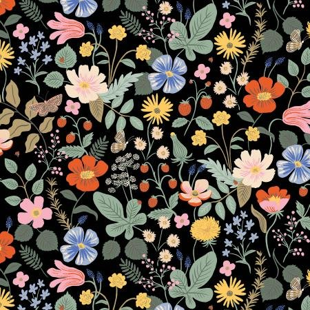Strawberry Fields - Black Fabric - By Anna Bond For Rifle Paper Co.