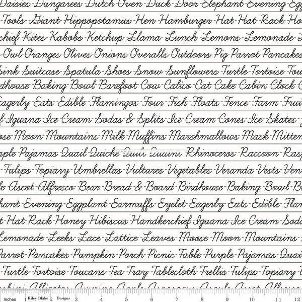 Hungry Animal Alphabet - Off White Penmanship - By J. Wecker Frisch For Riley Blake Fabrics
