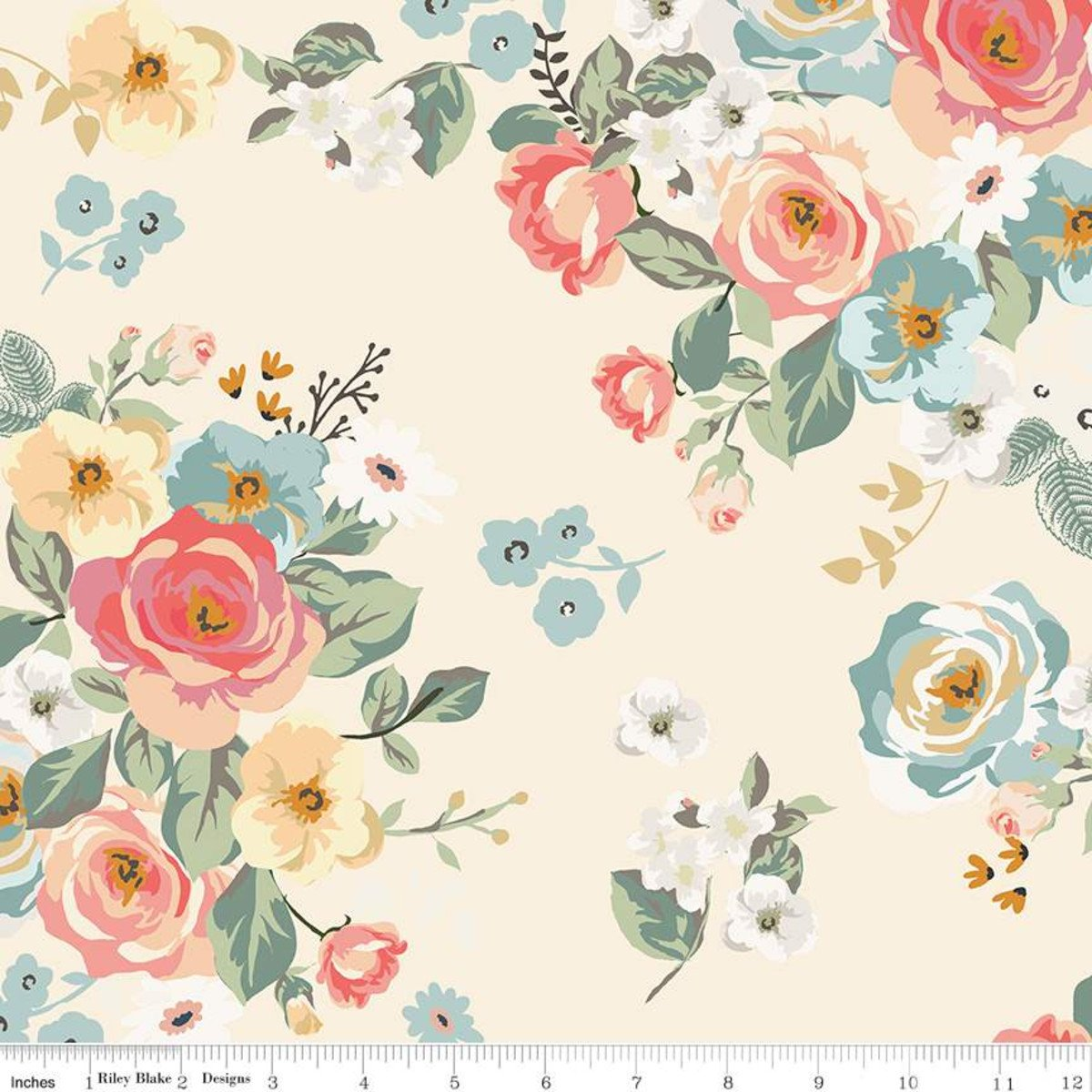 Gingham Gardens - Cream Main Floral - By My Mind's Eye For Riley Blake Fabrics