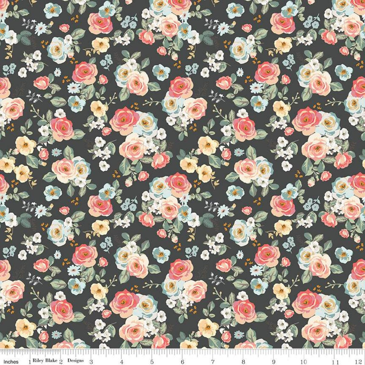 Gingham Gardens - Charcoal Floral - By My Mind's Eye For Riley Blake Fabrics