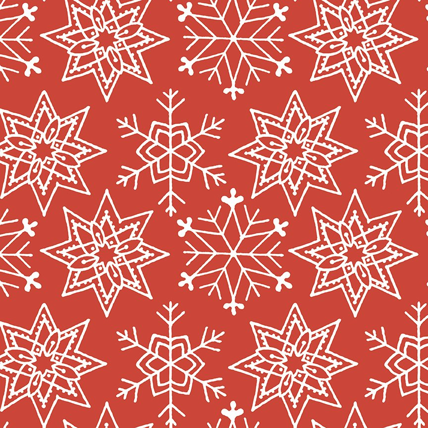 All About Christmas - Red Snowflakes - By J. Wecker Frisch For Riley Blake